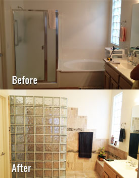 Glass Block Shower Before & After